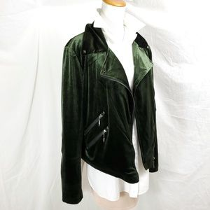 Belle Badgley Mischka L Green Velvet Moto Jacket